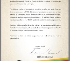 CARTA ASSINADA PELO FONASC.CBH TEM RESPOSTA DO CANDIDATO HADDAD