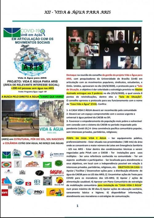 """FONASC- DF Continua Agenda de Projeto de Extensão da UNB com FONASC E movimentos sociais em apoio as populações das """"ARIS"""" Areas de Relevante Interesse Social para acesso a água no contexto da PANDEMIA"""