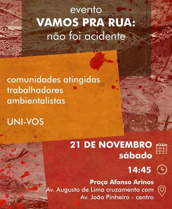 MINAS GERAIS FONASC DIVULGA EVENTO VAMOS PRA RUA TRAGEDIA DO RIO DOCE