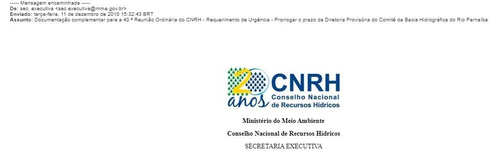 Email da Secretaria Executiva datado de 11 de dezembro, um dia antes da diretoria provisória terminar seu mandato